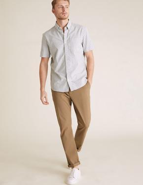 Erkek Bej Slim Fit Organik Pamuklu Pantolon