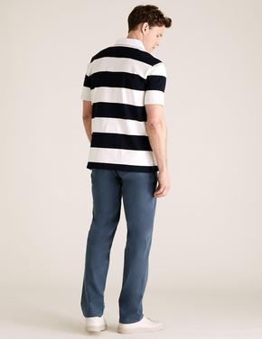 Erkek Lacivert Slim Fit Organik Pamuklu Pantolon