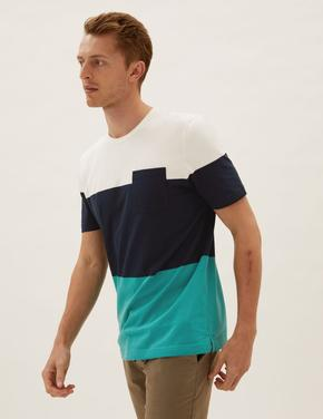 Erkek Lacivert Grafik Desenli  T-Shirt