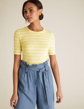 Kadın Sarı Çizgili T-Shirt