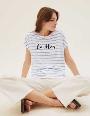 Kadın Mavi Slogan Desenli T-Shirt