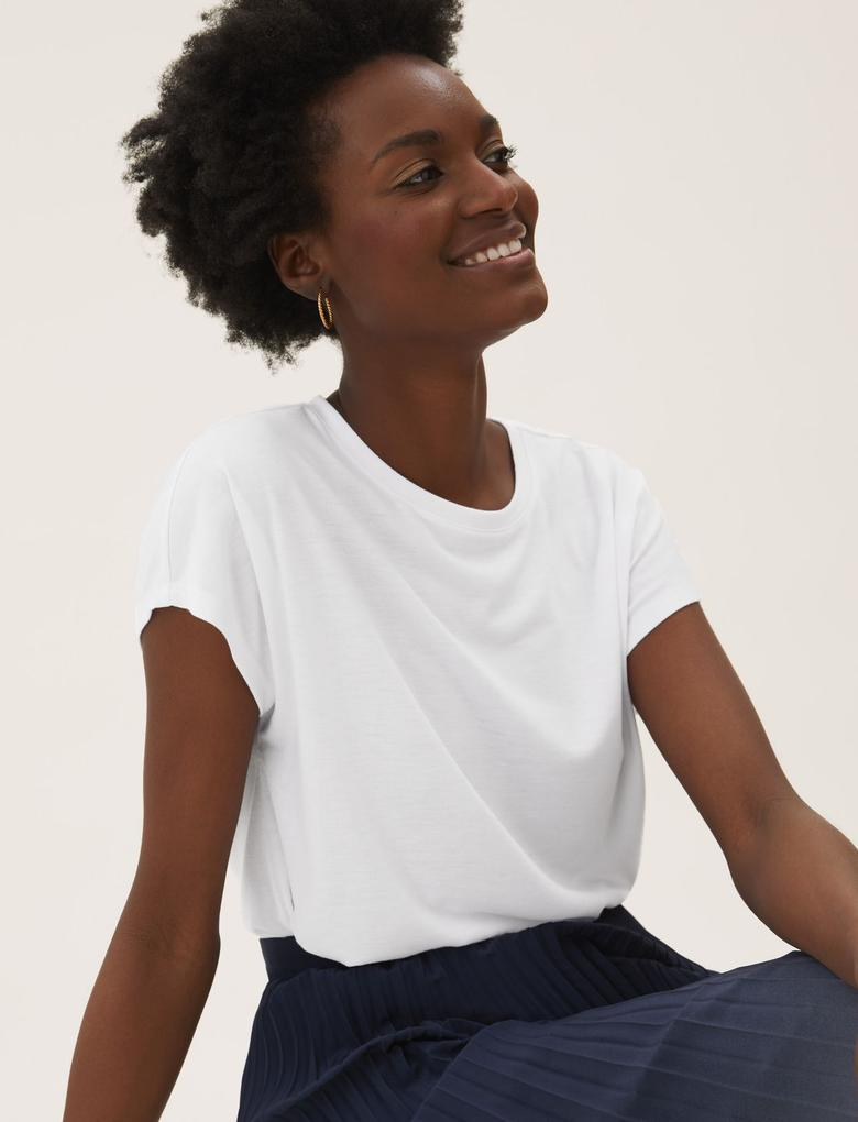 Kadın Beyaz Kısa Kollu T-Shirt