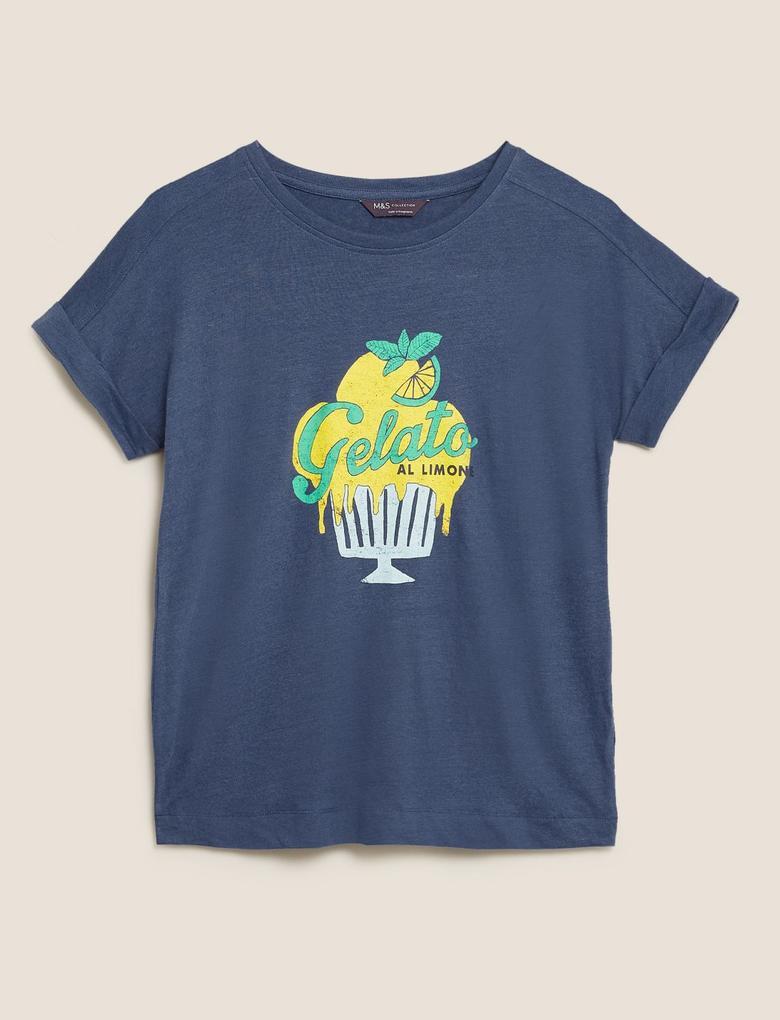 Kadın Lacivert Pamuklu Baskılı T-Shirt