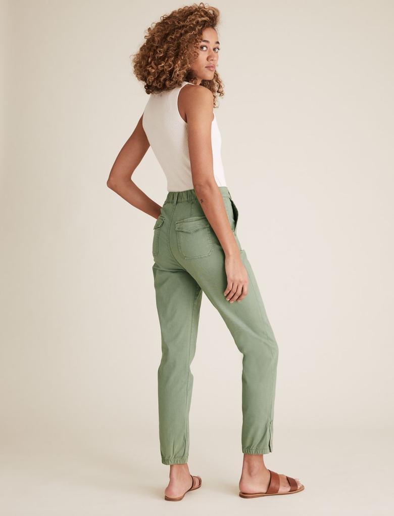 Kadın Gri Slim Fit Ankle Grazer Jogger Pantolon
