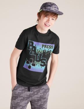 Erkek Çocuk Siyah Grafik Desenli T-Shirt