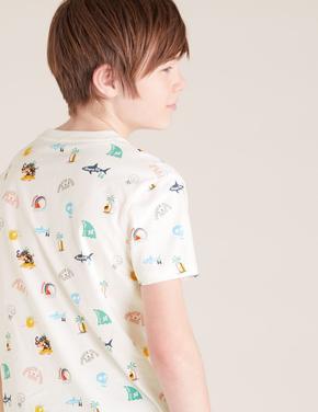 Erkek Çocuk Siyah Desenli T-Shirt