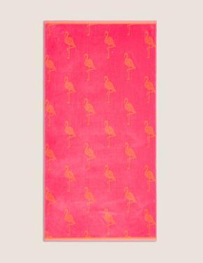 Ev Pembe Flamingo Desenli Plaj Havlusu