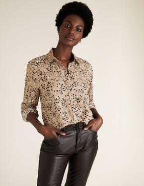 Kadın Kahverengi Desenli Keten Gömlek