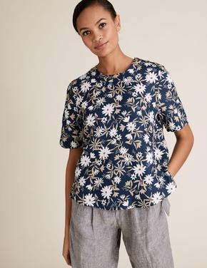 Kadın Lacivert Çiçek Desenli Keten T-Shirt