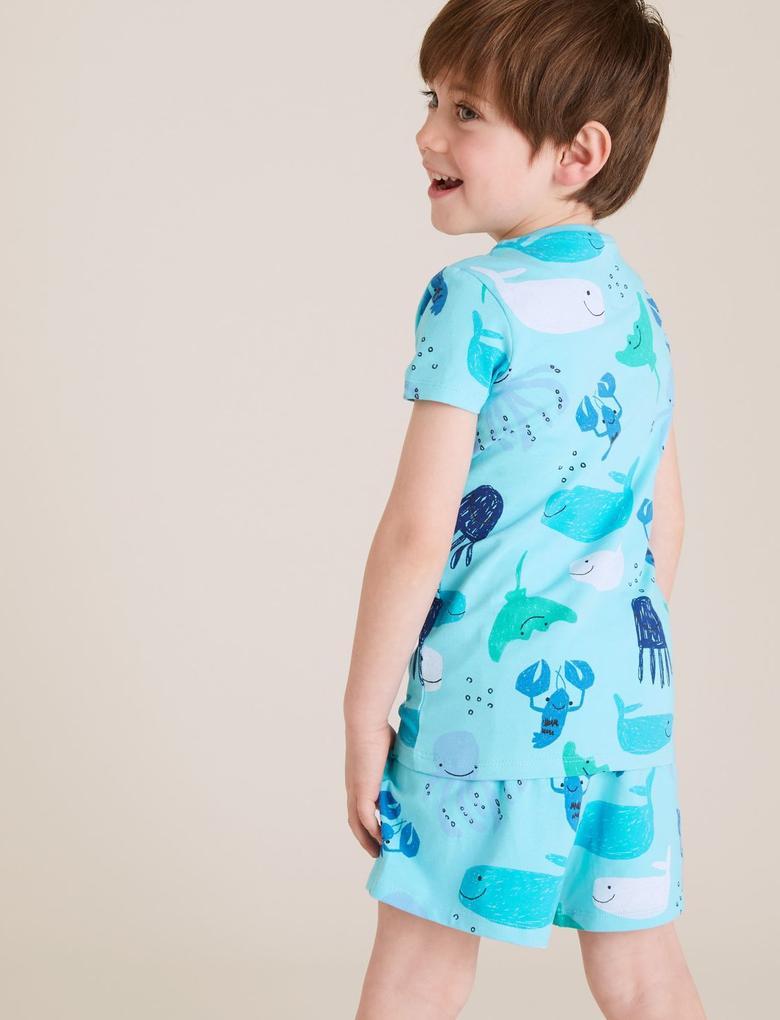 Çocuk Mavi Deniz Altı Baskılı Pijama Takımı