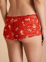 Kadın Kırmızı Çiçek Desenli Külot