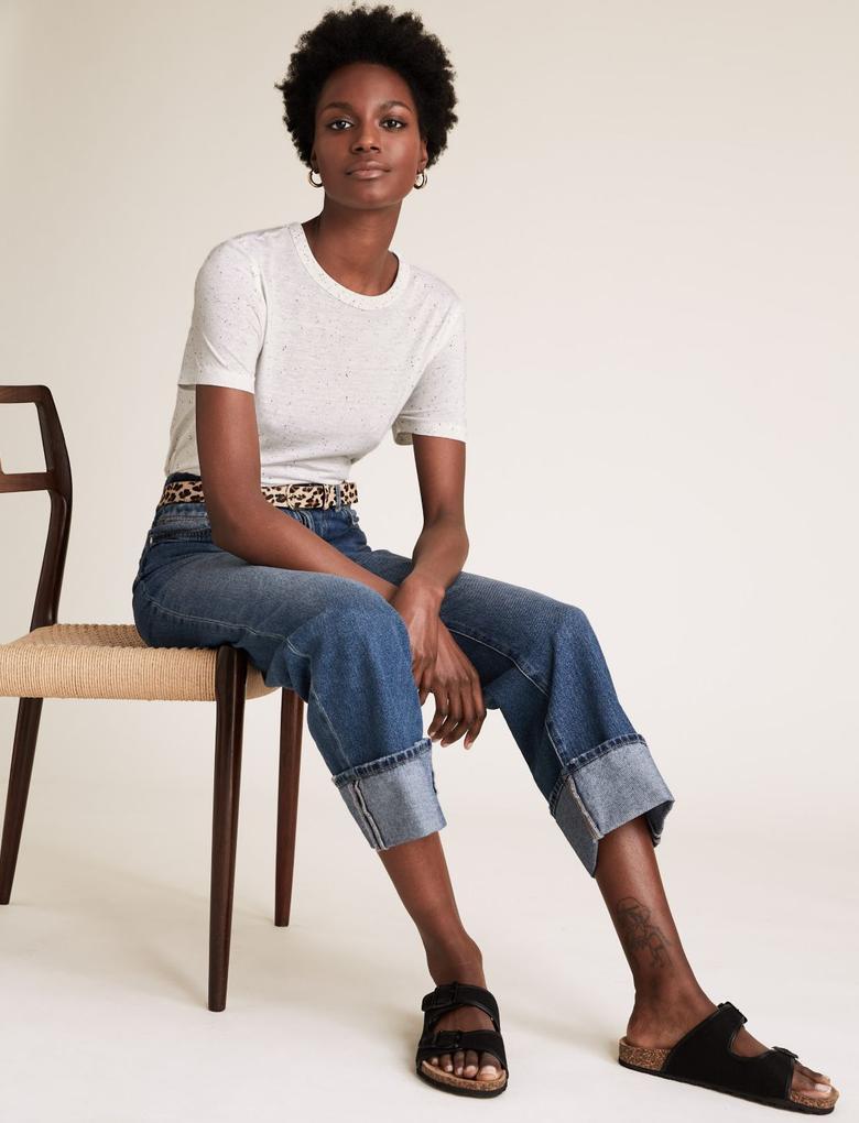 Kadın Mavi Pamuk Dokulu Bisiklet Yaka T-Shirt