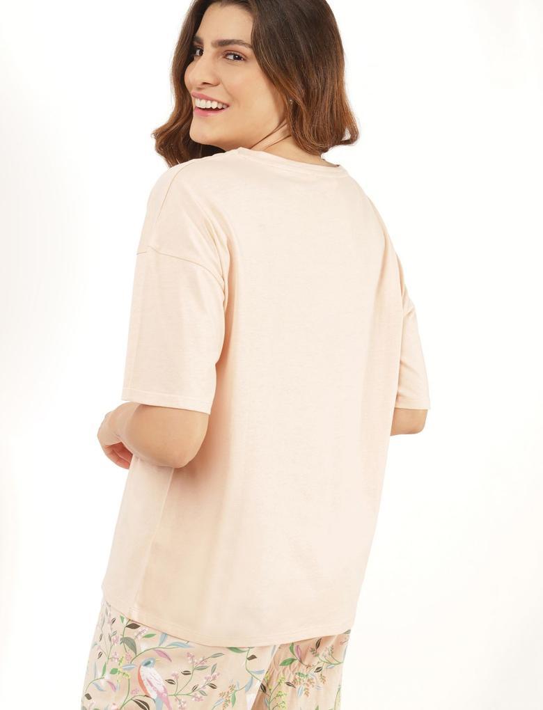 Kadın Turuncu Baskılı Pijama Takımı