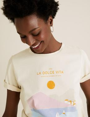 Kadın Krem Slogan Desenli T-Shirt