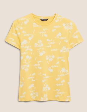 Kadın Sarı Desenli T-Shirt