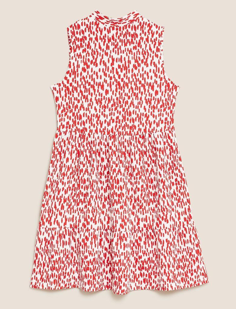 Kadın Kırmızı Desenli Elbise