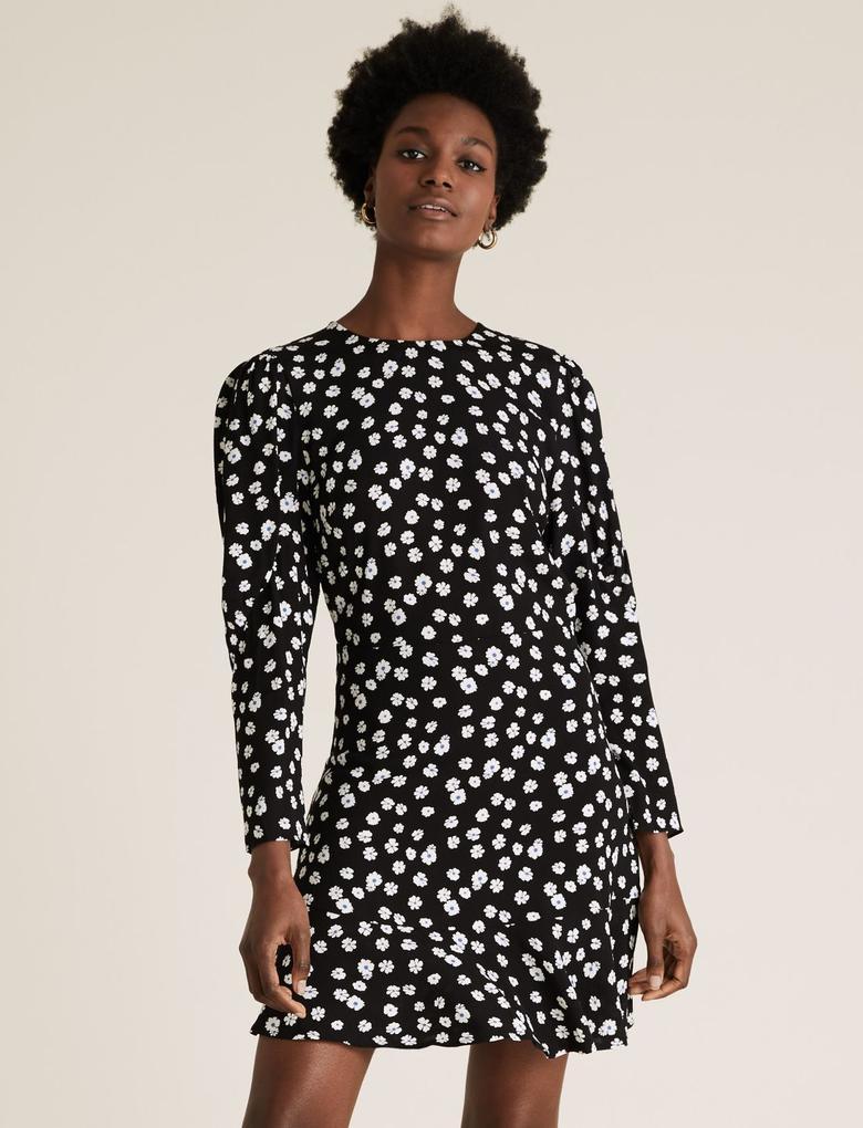 Kadın Siyah Desenli Etek