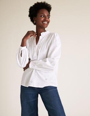 Kadın Krem Regular Fit Bluz