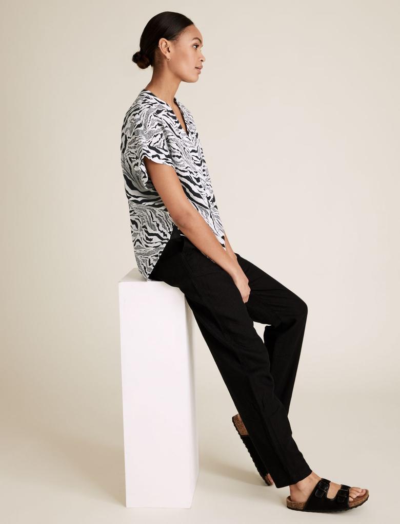 Kadın Siyah Keten Gömlek