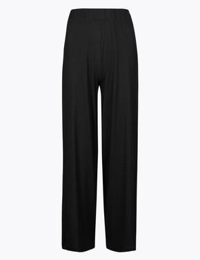 Kadın Siyah Wide Leg Cropped Panton