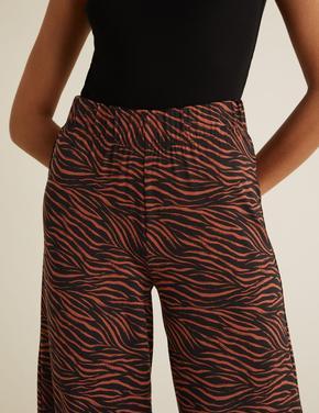 Kadın Kahverengi Desenli Wide LegPantolon