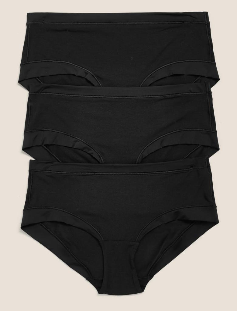 Siyah 3'lü Flexifit™ Modal Low Rise Külot Seti