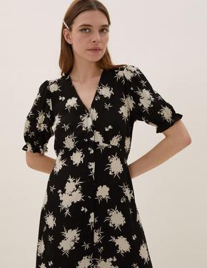 Kadın Siyah Çiçek Desenli Elbise