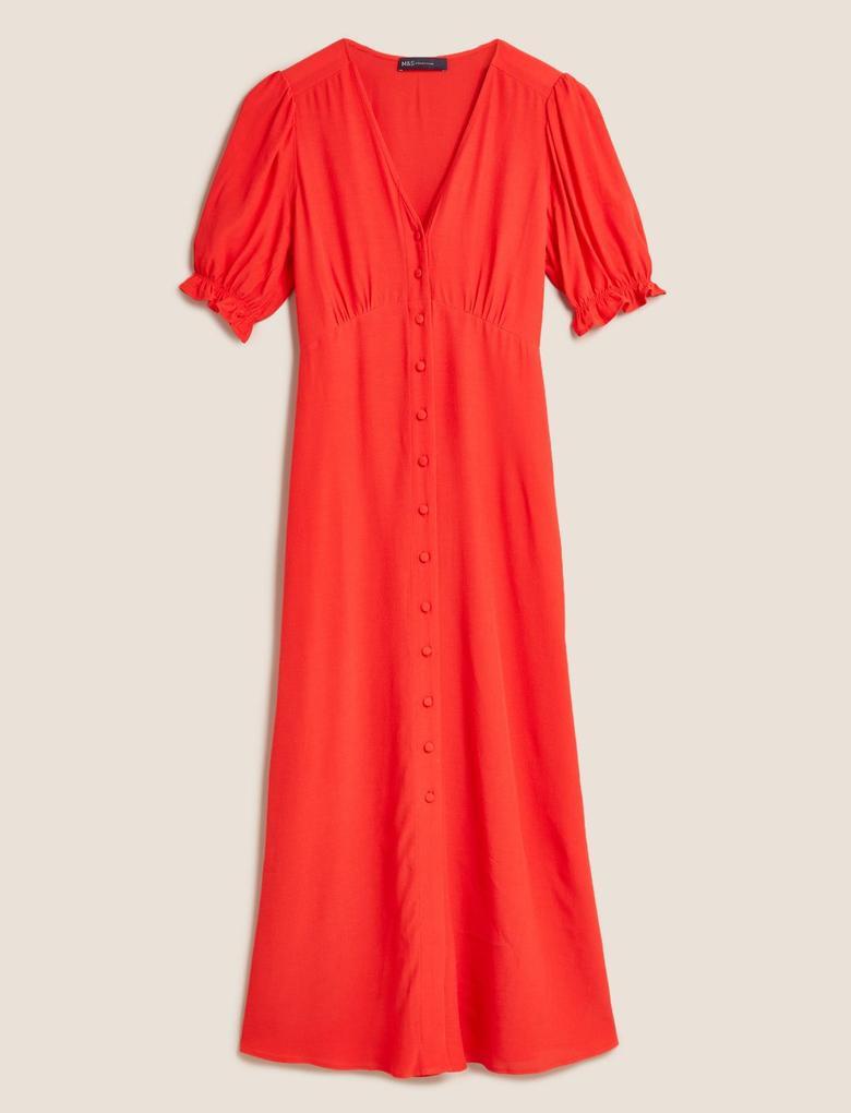 Kadın Kırmızı V Yaka Elbise