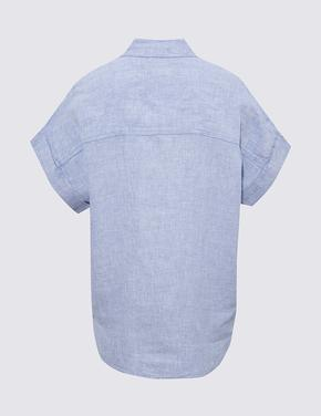 Kadın Mavi Keten Gömlek