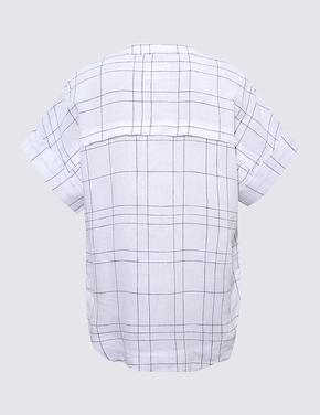 Kadın Beyaz Keten T-Shirt