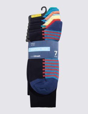 Erkek Lacivert 7'li Pamuklu Çorap Seti (Cool & Freshfeet™ Teknolojisi ile)