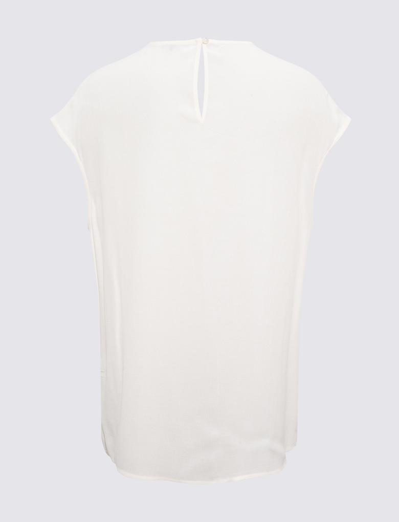 Kadın Krem Pile Detaylı Bluz