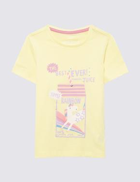 Kız Çocuk Sarı Unicorn Baskılı T-Shirt