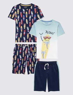 Çocuk Mavi 2'li Kaykaylı Şortlu Pijama Takımı