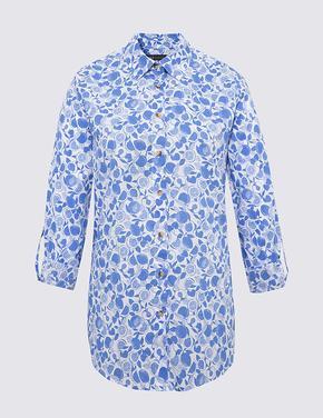Kadın Mavi Saf Pamuklu Gömlek