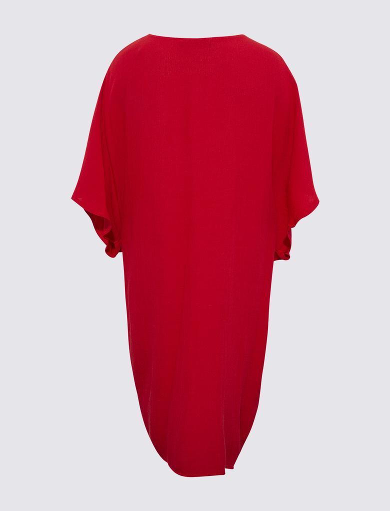 Kadın Kırmızı Büzgülü Kaftan