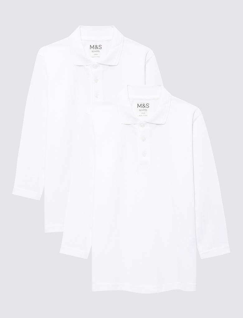 Çocuk Beyaz 2'li Unisex Polo Yaka T-Shirt