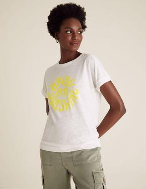Kadın Krem Baskılı T-Shirt