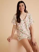 Kadın Turuncu Çiçek Desenli Pijama Takımı