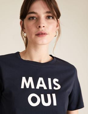 Kadın Lacivert Slogan Desenli Straight Fit T-Shirt