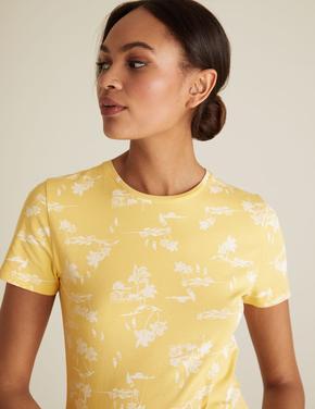 Kadın Sarı Desenli Pamuklu T-Shirt