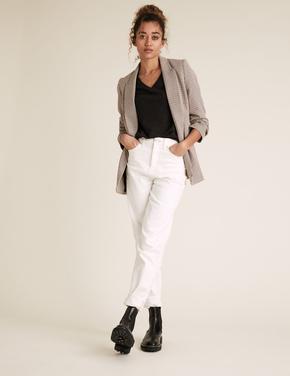 Kadın Siyah Straight Fit V Yaka T-Shirt