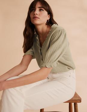 Kadın Yeşil Fırfır Detaylı Bluz