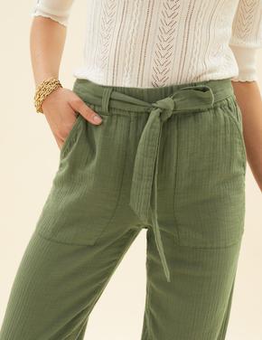 Kadın Yeşil Pamuklu Tapered Ankle Grazer Pantolon