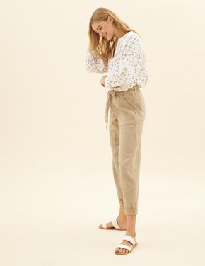 Kadın Bej Pamuklu Tapered Ankle Grazer Pantolon