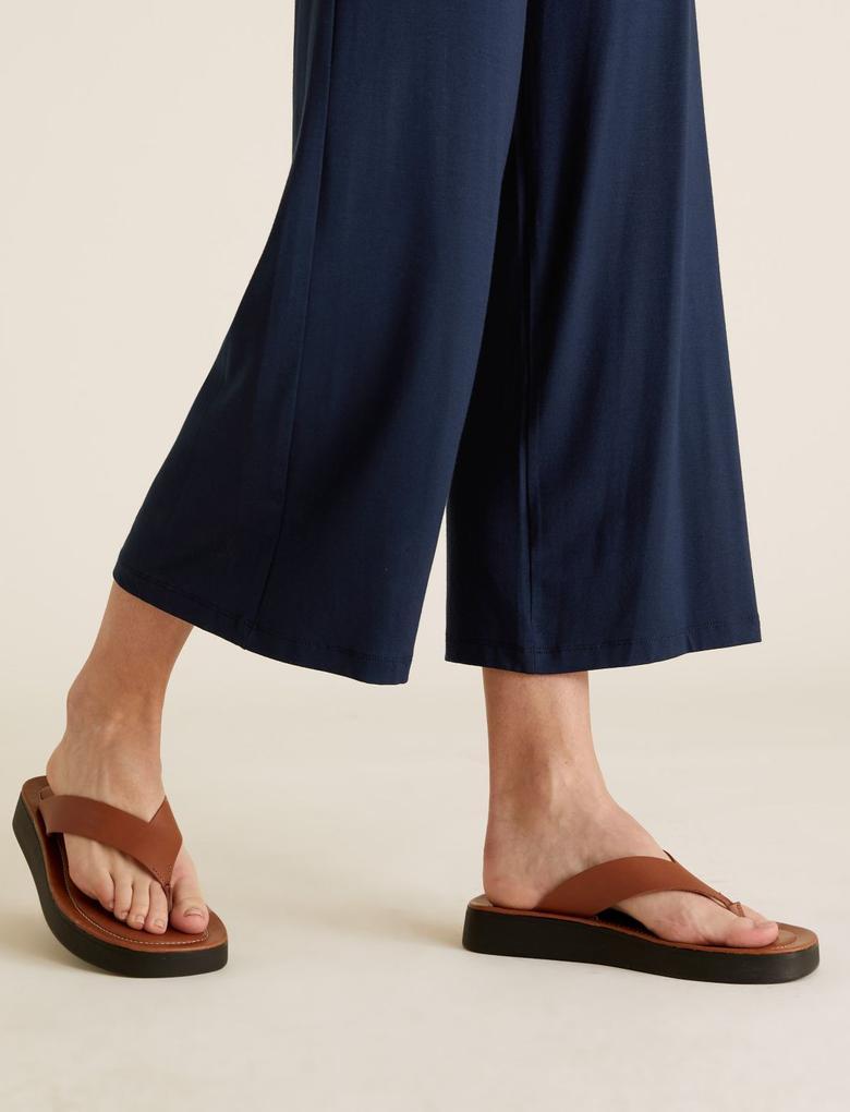 Kadın Lacivert Wide Leg Cropped Pantolon