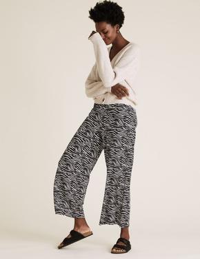 Kadın Siyah Desenli Wide LegPantolon