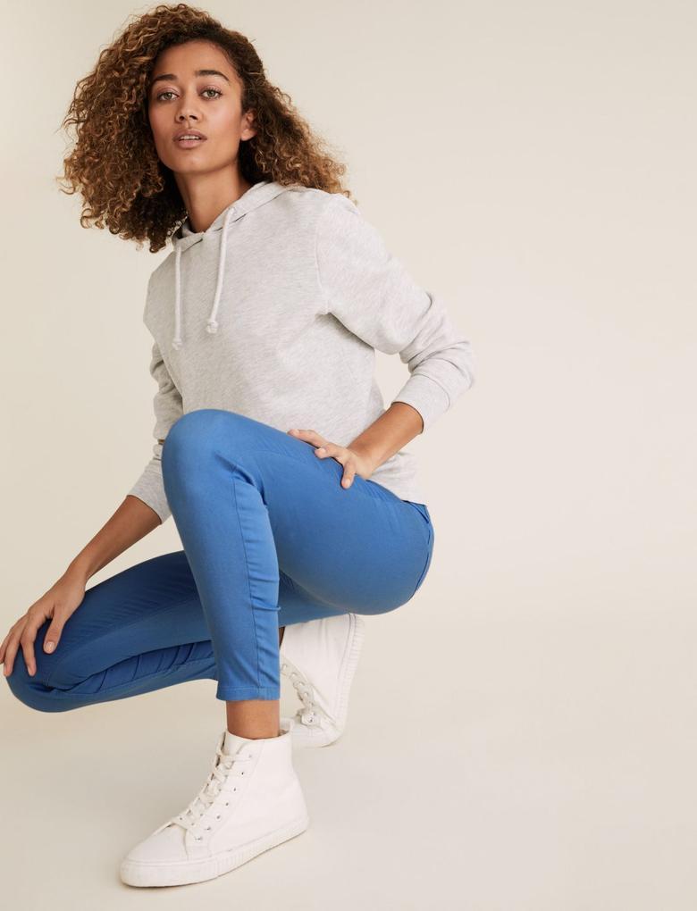 Kadın Mavi Yüksek Bel Jegging Pantolon