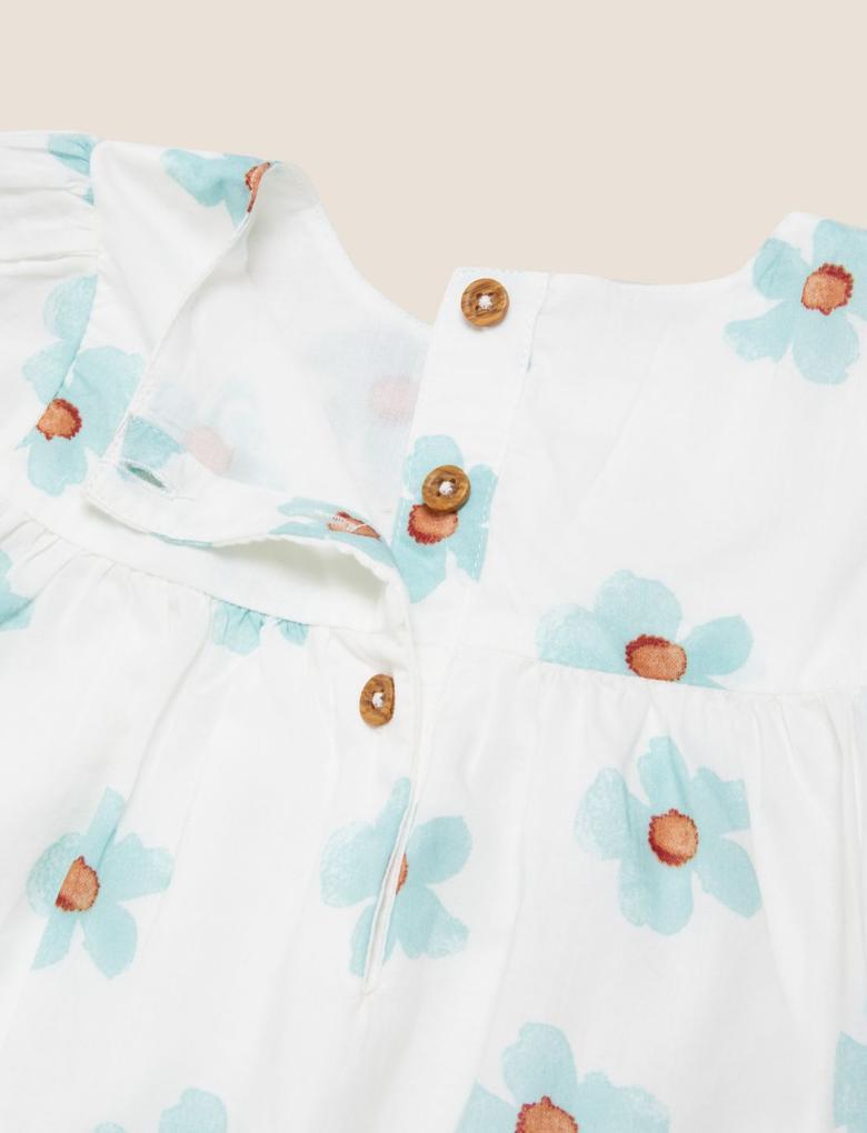 Bebek Krem 2'li Çiçek Desenli Takım