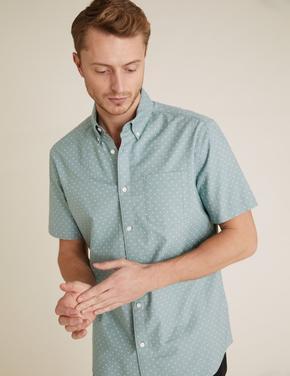 Erkek Mavi Saf Pamuklu Oxford Gömlek